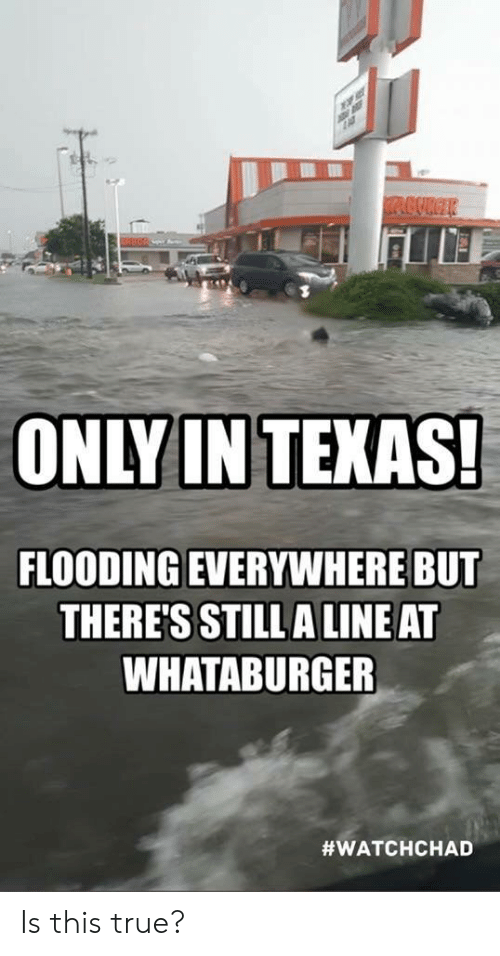 Whataburger: ONLY IN TEKAS!  FLOODING EVERYWHERE BU  THERE'S STILLA LINE AT  WHATABURGER  Is this true?