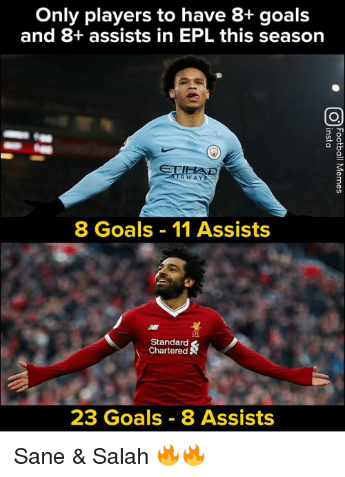 epl: Only players to have 8+ goals  and 8+ assists in EPL this season  0  WAYS  8 Goals 11 Assists  Standard  Chartered  23 Goals 8 Assists Sane & Salah 🔥🔥