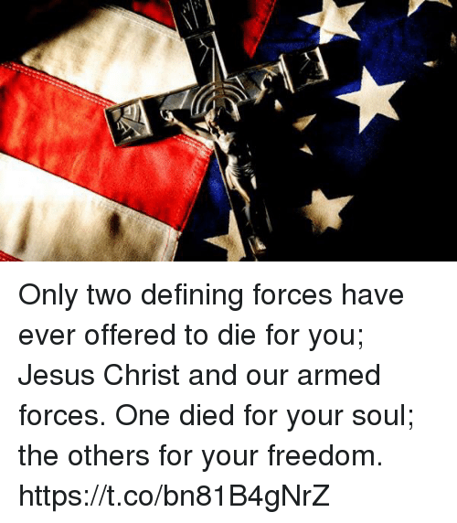 Defining: Only two defining forces have ever offered to die for you; Jesus Christ and our armed forces. One died for your soul; the others for your freedom. https://t.co/bn81B4gNrZ