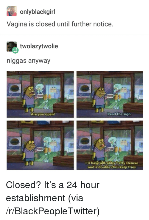 Blackpeopletwitter, Vagina, and Krabby Patty: onlyblackgirl  Vagina is closed until further notice.  twolazytwolie  niggas anyway  Are you open?  Read the sign.  'lu havea Krabby Patty Deluxe  and a double chili kelp fries <p>Closed? It's a 24 hour establishment (via /r/BlackPeopleTwitter)</p>