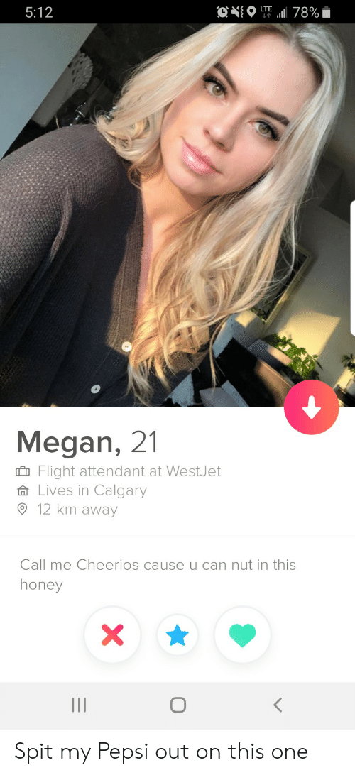 Attendant: ONO  LTE  5:12  78%  Megan, 21  Flight attendant at WestJet  Lives in Calgary  12 km away  Call me Cheerios cause u can nut in this  honey  X  O Spit my Pepsi out on this one