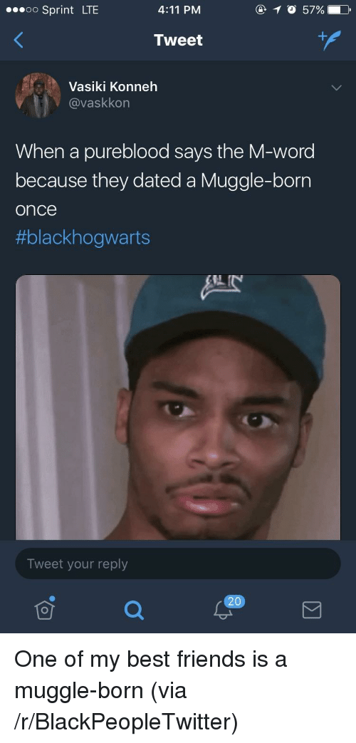 Muggle: oo Sprint LTE  4:11 PM  Tweet  Vasiki Konneh  @@vaskkon  When a pureblood says the M-word  because they dated a Muggle-born  once  #blackhogwarts  Tweet your reply  20 <p>One of my best friends is a muggle-born (via /r/BlackPeopleTwitter)</p>