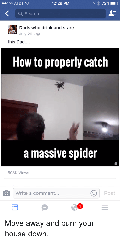 Dad, Spider, and At&t: OOO AT&T  12:29 PM  72% .  Q Search  Dads who drink and stare  July 29.  this Dad....  How to properly catch  a massive spider  508K Views  Write a comment...  Post <p>Move away and burn your house down.</p>