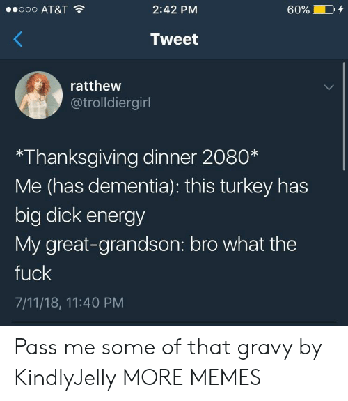 Dementia: ooo AT&T  2:42 PM  60%  Tweet  ratthew  @trolldiergirl  *Thanksgiving dinner 2080*  Me (has dementia): this turkey has  big dick energy  My great-grandson: bro what the  fuck  7/11/18, 11:40 PM Pass me some of that gravy by KindlyJelly MORE MEMES