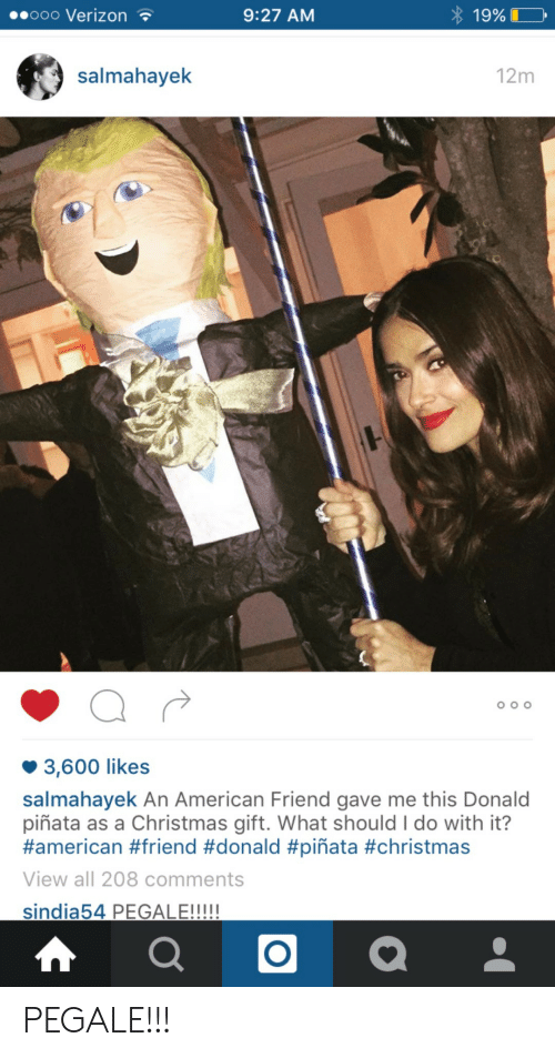 600 Likes: ooo VerizonT  9:27 AM  19%  salmahayek  12m  3,600 likes  salmahayek An American Friend gave me this Donald  piñata as a Christmas gift. What should I do with it?  #american #friend #donald #piñata #christmas  View all 208 comments  LE!!! PEGALE!!!