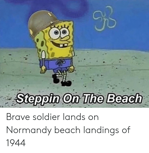 Normandy Beach: Op  Steppin on The Beach Brave soldier lands on Normandy beach landings of 1944