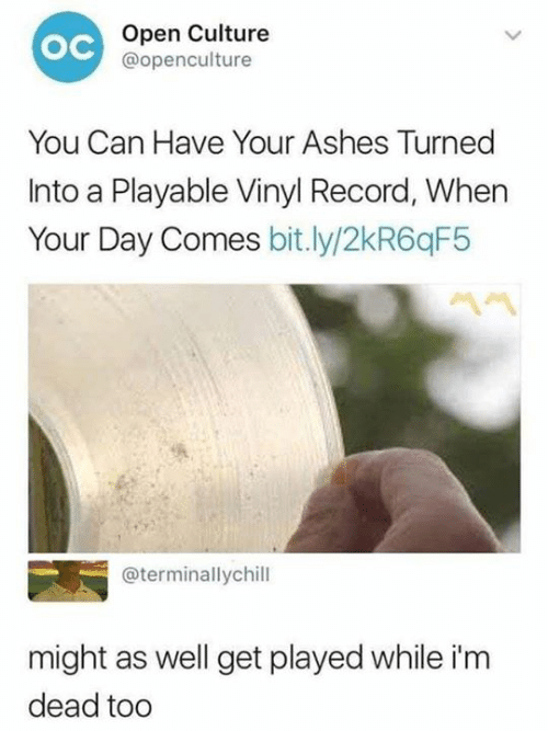 vinyl: Open Culture  @openculture  ос  You Can Have Your Ashes Turned  Into a Playable Vinyl Record, When  Your Day Comes bit.ly/2kR6qF5  @terminallychill  might as well get played while i'm  dead tod