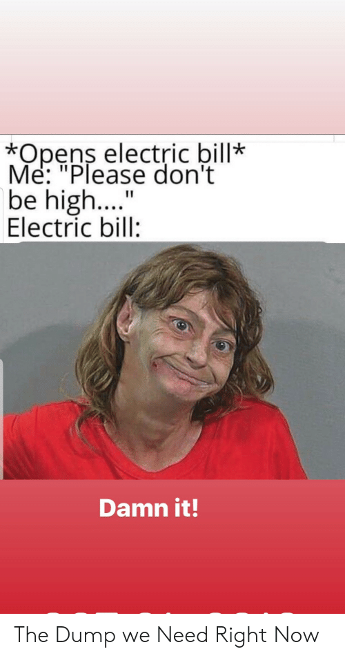 "Me Please: *Opens electric bill*  Me: ""Please don't  be high....  Electric bill:  Damn it! The Dump we Need Right Now"