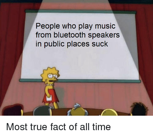 Play Music: ople who play music  from bluetooth speakers  in public places suck  Pe Most true fact of all time