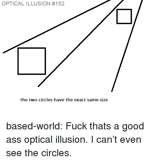 Ass, Target, and Tumblr: OPTICAL ILLUSION #152  the two circles have the exact same size based-world:  Fuck thats a good ass optical illusion. I can't even see the circles.