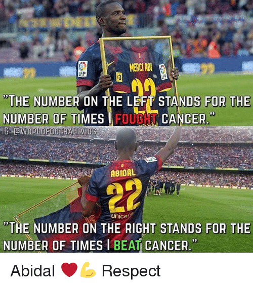 """merci: or  MERCI AB  FP  """"THE NUMBER ON THE LEFT STANDS FOR THE  NUMBEROF TIMES FOUBCANCER  95  ABIDAL  unice  """"THE NUMBER ON THE RIGHT STANDS FOR THE  NUMBER OF TIMES I BEAT CANCER. Abidal ❤️💪 Respect"""