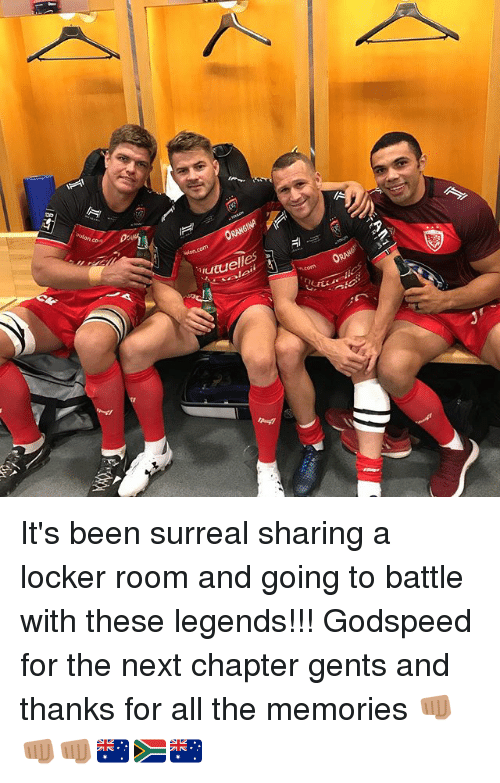 surrealism: ORANGINA  riutuelles It's been surreal sharing a locker room and going to battle with these legends!!! Godspeed for the next chapter gents and thanks for all the memories 👊🏽👊🏽👊🏽🇦🇺🇿🇦🇦🇺
