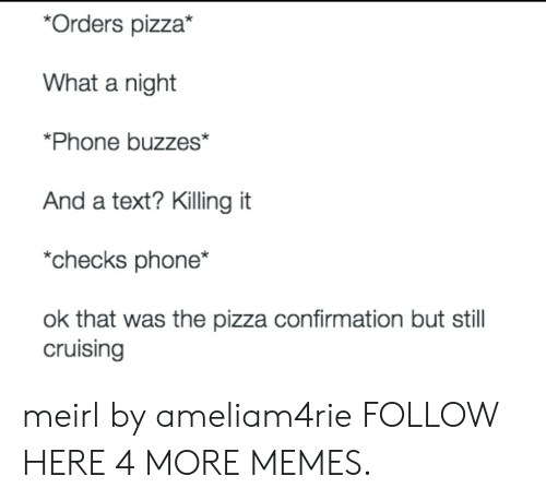 cruising: *Orders pizza*  What a night  *Phone buzzes*  And a text? Killing it  *checks phone*  ok that was the pizza confirmation but stil  cruising meirl by ameliam4rie FOLLOW HERE 4 MORE MEMES.