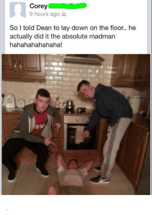 """He Actually Did It: ore  9 hours ago  So told Dean to lay down on the floor.. he  actually did it the absolute madman  hahahahahahaha! <p><a class=""""tumblr_blog"""" href=""""http://cringepics.tumblr.com/post/86587342885/dean-you-fucking-nutcase"""" target=""""_blank""""></a></p>"""