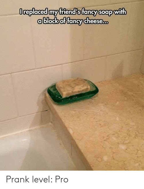 my friends: Oreplaced my friend's fancy soap with  ablock of fancy cheese. Prank level: Pro