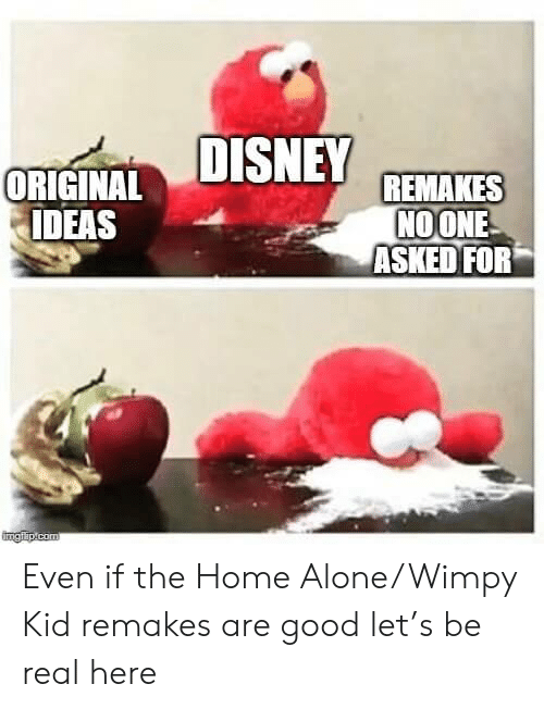 Being Alone, Home Alone, and Good: ORIGINALDISNEY REMAKES  NOONE  ASKED FOR  IDEAS  Imgilip.com Even if the Home Alone/Wimpy Kid remakes are good let's be real here