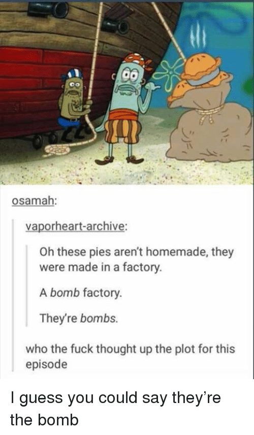 I Guess You Could Say: osamah:  vaporheart-archive:  Oh these pies aren't homemade, they  were made in a factory.  A bomb factory.  They're bombs.  who the fuck thought up the plot for this  episode I guess you could say they're the bomb