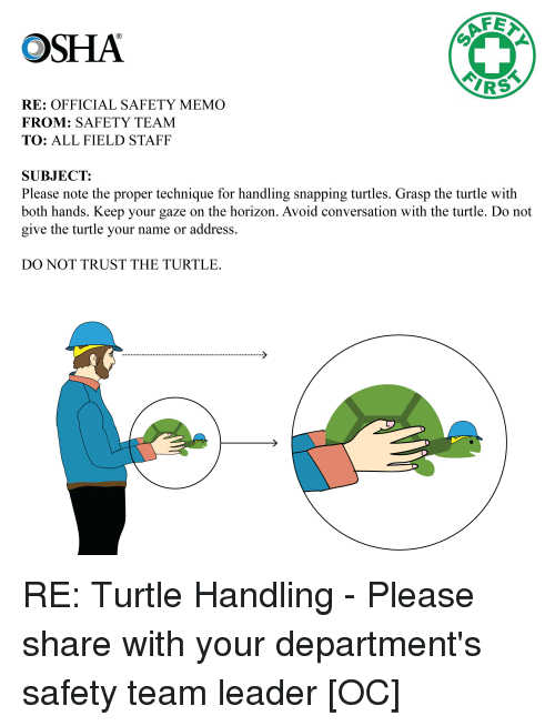 Turtle, Comics, and Osha: OSHA  RS  RE: OFFICIAL SAFETY MEMO  FROM: SAFETY TEAM  TO: ALL FIELD STAFF  SUBJECT:  Please note the proper technique for handling snapping turtles. Grasp the turtle with  both hands. Keep your gaze on the horizon. Avoid conversation with the turtle. Do not  give the turtle vour name or address.  DO NOT TRUST THE TURTLE