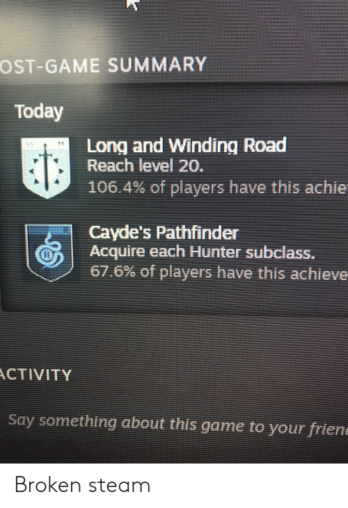Steam, Game, and Today: OST-GAME SUMMARY  Today  Long and Winding Road  Reach level 20.  106.4% of players have this achie  1  Cayde's Pathfinder  Acquire each Hunter subclass.  67.6% of players havethis achieve  ww  ACTIVITY  Say something about this gane to your friend Broken steam
