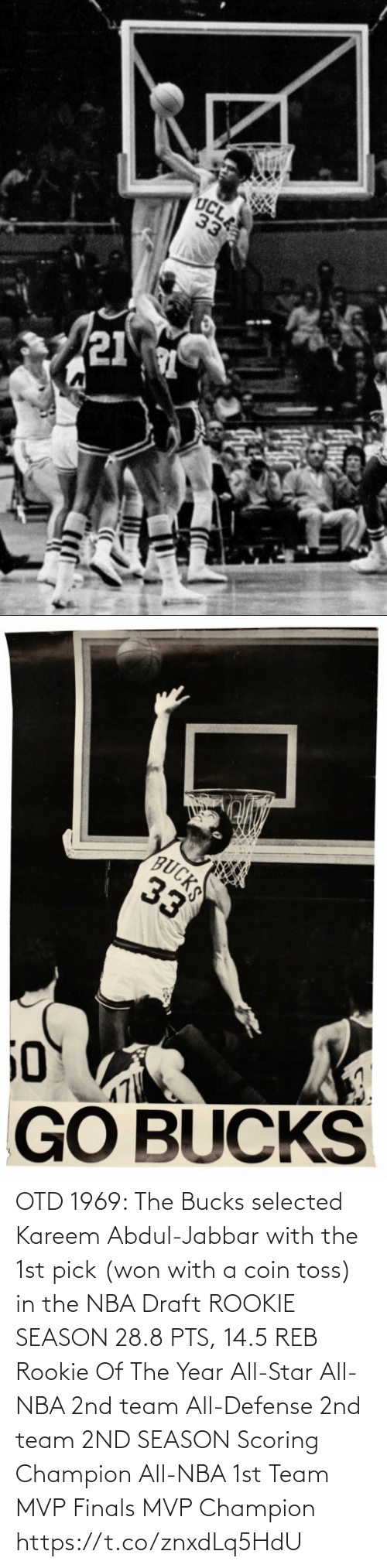 1St: OTD 1969: The Bucks selected Kareem Abdul-Jabbar with the 1st pick (won with a coin toss) in the NBA Draft   ROOKIE SEASON 28.8 PTS, 14.5 REB Rookie Of The Year All-Star All-NBA 2nd team All-Defense 2nd team  2ND SEASON Scoring Champion All-NBA 1st Team MVP Finals MVP Champion https://t.co/znxdLq5HdU