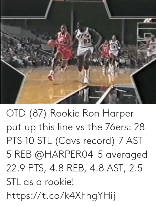 cavs: OTD (87) Rookie Ron Harper put up this line vs the 76ers:  28 PTS 10 STL (Cavs record) 7 AST 5 REB  @HARPER04_5 averaged 22.9 PTS, 4.8 REB, 4.8 AST, 2.5 STL as a rookie!  https://t.co/k4XFhgYHij