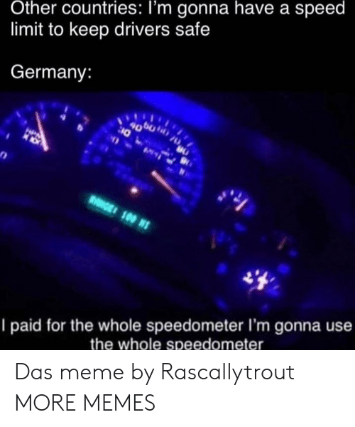Limit: Other countries: I'm gonna have a speed  limit to keep drivers safe  Germany:  4000  10  HPA  RGE 100 N  I paid for the whole speedometer I'm gonna use  the whole speedometer Das meme by Rascallytrout MORE MEMES