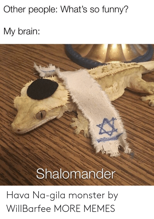 Naing: Other people: What's so funny?  My brain:  Shalomander Hava Na-gila monster by WillBarfee MORE MEMES