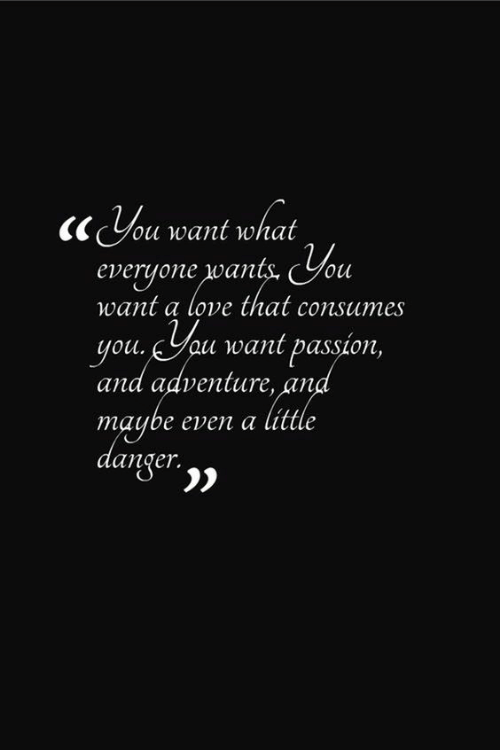 Love, Passion, and Adventure: ou want what  everyone wants. You  want a love that consumes  youau want passion,  and adventure, and  maybe even a little  danger