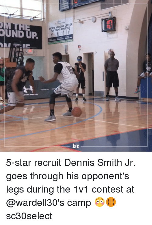 Dennis Smith Jr: OUND UP.  sums MEnci ECENTER/ーーー  SPORTS MEDICINE CENTER  FOR YOUNG ATHL  빠asses  br  ーーーー 5-star recruit Dennis Smith Jr. goes through his opponent's legs during the 1v1 contest at @wardell30's camp 😳🏀 sc30select