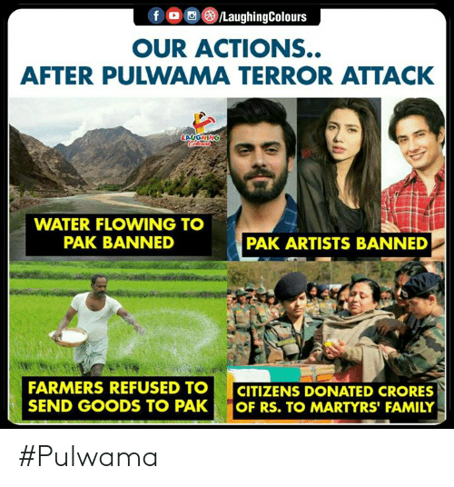 flowing: OUR ACTIONS..  AFTER PULWAMA TERROR ATTACK  WATER FLOWING TO  PAK BANNED  PAK ARTISTS BANNED  FARMERS REFUSED TOCITIZENS DONATED CRORES  SEND GOODS TO PAK OF RS. TO MARTYRS' FAMILY #Pulwama