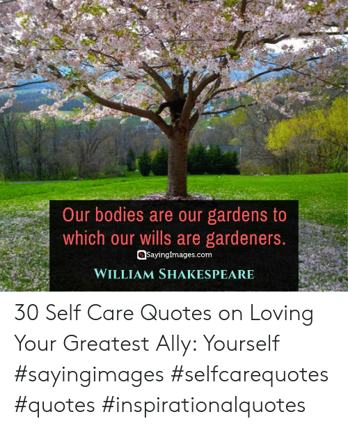 Ally: Our bodies are our gardens to  which our wills are gardeners.  SayingImages.com  WILLIAM SHAKESPEARE 30 Self Care Quotes on Loving Your Greatest Ally: Yourself #sayingimages #selfcarequotes #quotes #inspirationalquotes