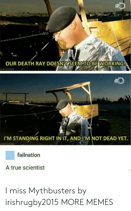 MythBusters: OUR DEATH RAY DOESNT SEEM TO BE WORKING  AWESOME  I'M STANDING RIGHT IN IT, AND I'M NOT DEAD YET.  wAfailnation  A true scientist I miss Mythbusters by irishrugby2015 MORE MEMES