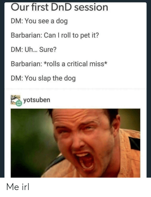 barbarian: Our first DnD session  DM: You see a dog  Barbarian: Can I roll to pet it?  DM: Uh... Sure?  Barbarian: *rolls a critical miss*  DM: You slap the dog  yotsuben Me irl