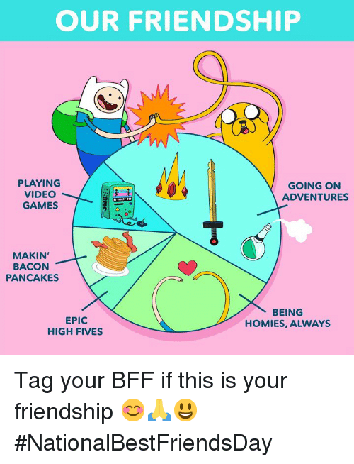Dank, Video Games, and Games: OUR FRIENDSHIP  PLAYING  VIDEO  GAMES  GOING ON  ADVENTURES  MAKIN'  BACON  PANCAKES  EPIC  HIGH FIVES  BEING  HOMIES, ALWAYS Tag your BFF if this is your friendship 😊🙏😃 #NationalBestFriendsDay