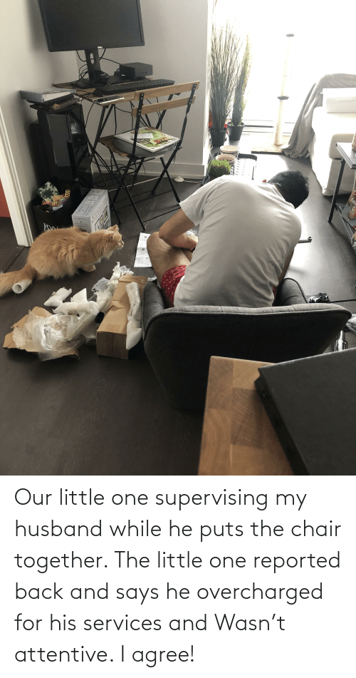 My Husband: Our little one supervising my husband while he puts the chair together. The little one reported back and says he overcharged for his services and Wasn't attentive. I agree!