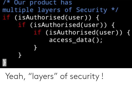 """Yeah, Access, and Layers: /* Our product has  multiple layers of Security /  if (isAuthorised(user) ) {  if (isAuthorised( user) ) {  if (isAuthorised(user)) {  access_data);  } Yeah, """"layers"""" of security !"""