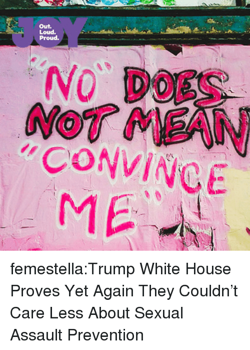 Target, Tumblr, and White House: Out.  Loud.  Proud.  NO' DOES  NOT MEAN  CONVINCE  ME femestella:Trump White House Proves Yet Again They Couldn't Care Less About Sexual Assault Prevention