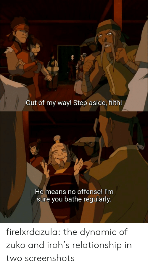 Target, Tumblr, and Blog: Out of my way! Step aside, filth!   He means no offense! I'nm  sure you bathe regularly. firelxrdazula:  the dynamic of zuko and iroh's relationship in two screenshots