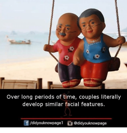 develope: Over long periods of time, couples literally  develop similar facial features.  团/d.dyouknowpage1 @didyouknowpage