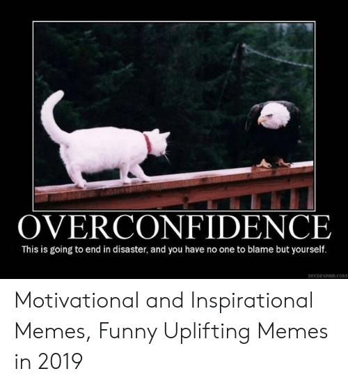 Uplifting Memes: OVERCONFIDENCE  This is going to end in disaster, and you have no one to blame but yourself.  DIYDESPAIR.COM Motivational and Inspirational Memes, Funny Uplifting Memes in 2019
