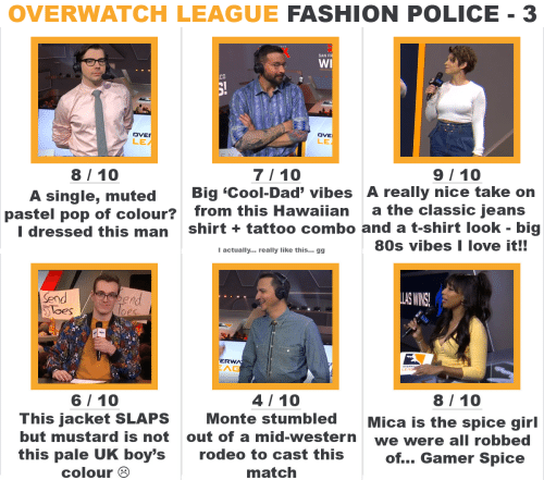 80s, Dad, and Fashion: OVERWATCH LEAGUE FASHION POLICE - 3   SAN F  WI  CO  DVE  LE  DVE  LE  7/ 10  A single, muted Big 'Cool-Dad' vibes A really nice take on  I dressed this man shirt +tattoo combo and a t-shirt look - big  8/10  9/ 10  pastel pop of colour?  from this Hawaiian  a the classic jeans  80s vibes I love it!!  Iactually... really like this... gg   Send  loes  nd  S WINS  ERW  AG  4/10  8/ 10  6/ 10  This jacket SLAPS  but mustard is not  this pale UK boy's  Monte stumbledMica is the spice girl  out of a mid-western  rodeo to cast this  match  we were all robbed  of... Gamer Spice  colour