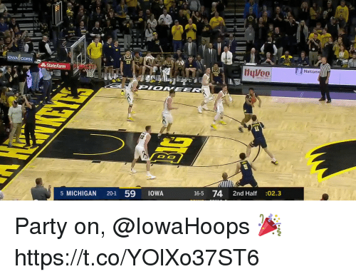 State Farm: OWA CORN  23  Natio  State Farm  16-5 74 2nd Half :02.3  5 MICHIGAN 20-1 59 1OWA Party on, @IowaHoops 🎉 https://t.co/YOlXo37ST6