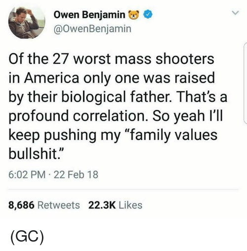 """correlation: Owen Benjamin  @OwenBenjamin  Of the 27 worst mass shooters  in America only one was raised  by their biological father. That's a  profound correlation. So yeah l'll  keep pushing my """"family values  bullshit.""""  6:02 PM 22 Feb 18  8,686 Retweets 22.3K Likes (GC)"""