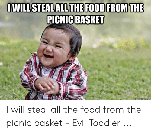 evil toddler: OWILLSTEALALL THE FOOD FROM THE  PICNIC BASKET  quickmeme.com I will steal all the food from the picnic basket - Evil Toddler ...