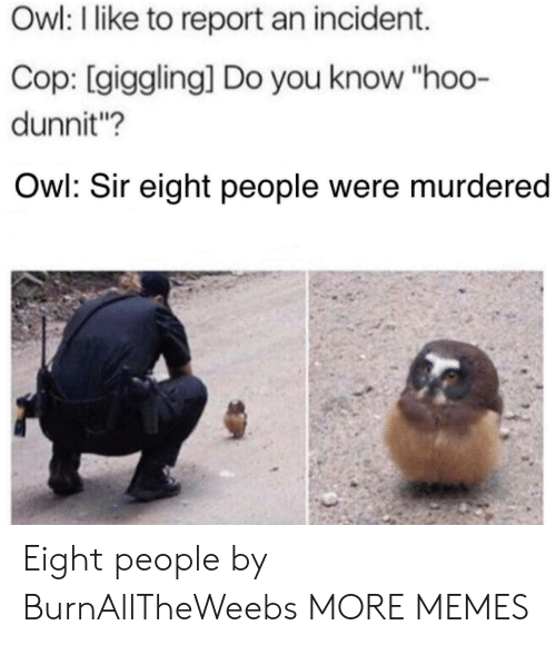 """Dank, Memes, and Target: Owl: I like to report an incident.  Cop: [giggling] Do you know """"hoo-  dunnit?  Owl: Sir eight people were murdered Eight people by BurnAllTheWeebs MORE MEMES"""