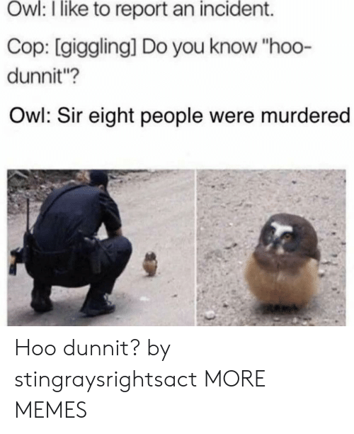 """Dank, Memes, and Target: Owl: I like to report an incident.  Cop: [giggling] Do you know """"hoo-  dunnit?  Owl: Sir eight people were murdered Hoo dunnit? by stingraysrightsact MORE MEMES"""