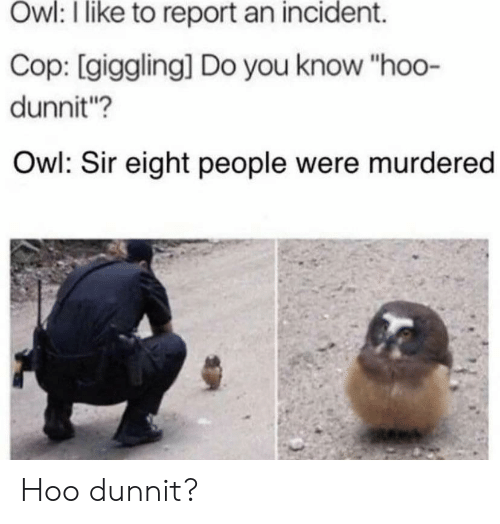 """Owl, Cop, and You: Owl: I like to report an incident.  Cop: [giggling] Do you know """"hoo-  dunnit?  Owl: Sir eight people were murdered Hoo dunnit?"""
