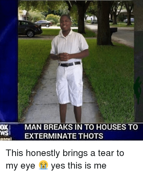 oxy: OXI MAN BREAKS IN TO HOUSES TO  WS EXTERMINATE THOTS This honestly brings a tear to my eye 😭 yes this is me