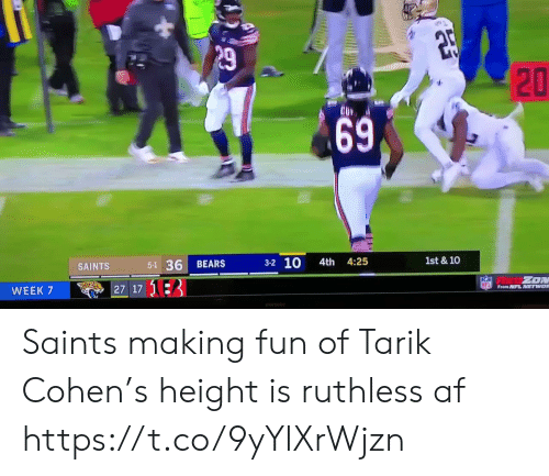 making fun: P29  1st & 10  3-2 10  4th 4:25  5-1 36  BEARS  SAINTS  ZON  NFL From NFL NETWOR  27 17 13  WEEK 7  ASD  20  69 Saints making fun of Tarik Cohen's height is ruthless af  https://t.co/9yYlXrWjzn