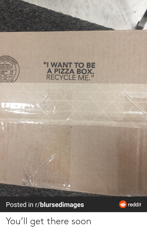 "Crush: PACKAGING  ER  CERTIFICAT  ""I WANT TO BE  A PIZZA BOX.  RECYCLE ME.""  THIS  SINGLEWALL  EETS ALL CONSTRUCTION  REMEITS OF APPLICABLE  EIGHT CLASSIFICATION  E CRUSH 32  (ECT)  Mt 75 MCHES  65 us  LOSAN  OSS  ELT  O reddit  Posted in r/blursedimages You'll get there soon"